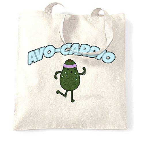 Carino Avocado Sacchetto Di Tote Avo-Cardio Workout Pun Slogan White One Size