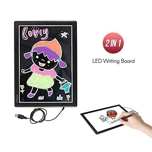 Aibecy Farbe Schreibplatte LED Anschlagbrett doppelseitiges Zeichen Pad Elektronische Handschrift Bord mit Ständer USB-Schnittstelle für Office Cafe Bar Home School