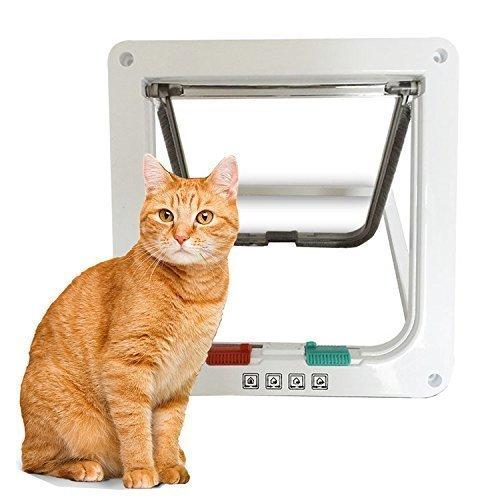 Yosoo Haustier Zubehör Katzen Zubehör Smart Katzentür Katzenklappe mit 4 Verschluss-wählen, 3 Größe, Weiß (L) -