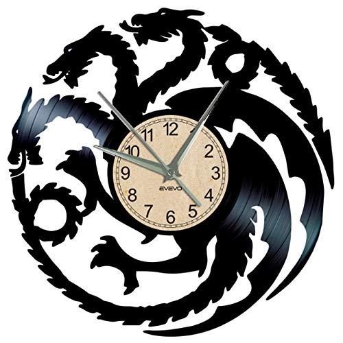 EVEVO Game of Thrones Wanduhr Vinyl Schallplatte Retro-Uhr groß Uhren Style Raum Home Dekorationen Tolles Geschenk Wanduhr Game of Thrones