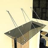 i-flair Glasvordach Vordach aus 13,14 mm starkem Verbundsicherheitsglas (VSG) mit Hochwertigen V2A Edelstahlbeschlägen Alle Groessen (Getönt 200cm x 90cm mit 3 Haltestangen)