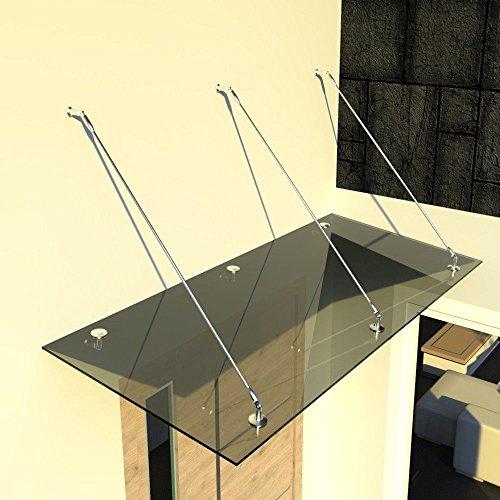 i-flair Glasvordach Vordach aus 13,14 mm starkem Verbundsicherheitsglas (VSG) mit Hochwertigen V2A...