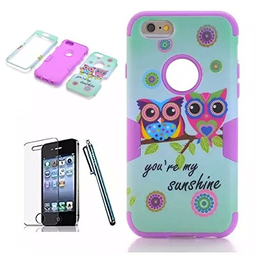 iPhone 6 Case Sunsline Owls, iPhone 6 4.7 Case, i6 Cover, Lantier 3 in 1 Combo Tuff Hybrid Armor Shockproof Cover Skin Protective Case for iPhone 6 4.7inch/Pink Sunsline Owl Purple