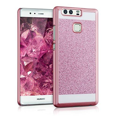 kwmobile Hardcase Hülle für Huawei P9 mit Glitzer Rechteck Design - Hartschale Backcover Case Schutzhülle Cover in Pink Weiß