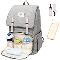 Diaper Bag for Baby Care Mum Travel Backpack with Stroller Straps Large Capacity Nappy Bag Leather Trim Nursing Bag