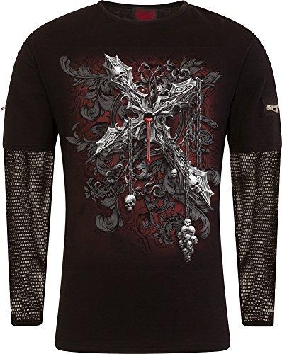 Cross Long Sleeve Shirt Schwarz (Spiral Cross of Darkness Longsleeve schwarz L)
