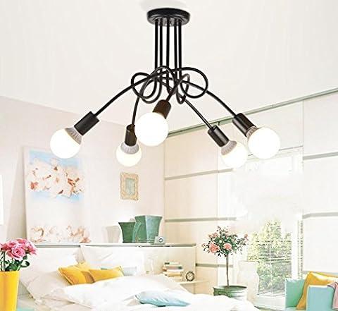 GFFORT Rétro vent industriel plafond créatif chambre restaurant, lustre d'absorption en fer forgé vie chambre bureau créatif, E27, diamètre 60 cm ,