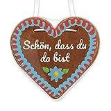 Lebkuchenherz 12cm mit beschriftetem Aufkleber - Schön, dass du da bist   inkl. Umhängeband   Lebkuchen Herz verschenken   Lebkuchenherzen günstig kaufen von LEBKUCHEN WELT