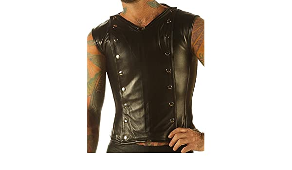 abdfd66f84 Leatherotics Mens Full Grain Leather Vest Steampunk Waistcoat Victorian  Steel Boned Shirt VC9  Amazon.co.uk  Clothing
