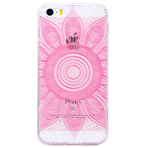 2 x GrandEver Coque iPhone 5C Transparente Transparent Silicone Gel Rubber avec Souple Fine Motif Design Bumper Utra Mice Soft Doux Flexible Case Etui Cover Housse pour iPhone 5C --- Oiseau + Mandala  Oiseau + Mandala Rose