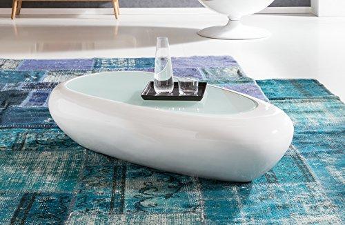 SalesFever® Couchtisch Godi, aus weißem Fiberglas, 120 x 65 cm, ovaler Wohnzimmertisch, Tischplatte aus Glas, Tisch mit pflegeleichter Oberfläche