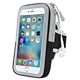 Running Armband Phone Holder, GIM Sweatproof Sports Armband Doule Bags with zipper arm bag for all phones up to 5.8 inches, iPhone X, 8 Plus, 7 Plus, 6 Plus, Samsung Galaxy S8, S7, Moto, Huawei, HTC, etc Touch Screen/ Reflective Stripe/ Earphone Hole/ Long Adjustable Belt for Gym Workout Exercise Running