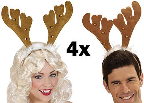 Party-Teufel 4 Stück Braune Rentier Hörner Haarreifen mit 6 Glöckchen und Marabufedern Weihnachten Weihnachtsfeier Nikolausfeier Weihnachtsmarkt (Hörner Kostüm Teufel Zubehör)