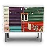 banjado - Badunterschrank 60x55x35cm Design Waschbeckenunterschrank mit Motiv Buntes Haus