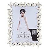 Giftgarden 7x5 Photo Frame White Butterfly Ornament Valentines Gifts