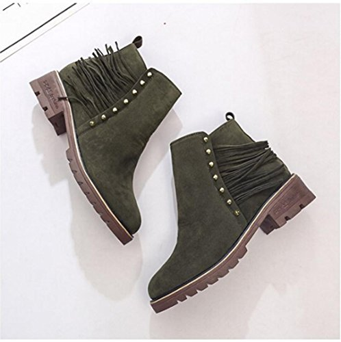 Jamicy Donna moda camoscio nappa inverno Flat STIVALETTO Scarpe Martin Army Green