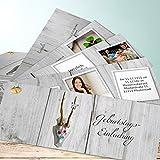 Einladungen zum 50 Geburtstag, Geweih 200 Karten, Kartenfächer 210x80 inkl. weiße Umschläge, Grau