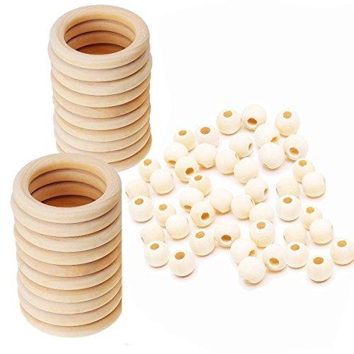 Jun 20Holzringe / Holzkreise (55mm Durchmesser) + 50unlackierte, runde Holzperlen (20mm) mit großem Loch, Set für Basteln, Schmuck, Makramee, Wandbehang (Masse Handwerk-perlen Der In)