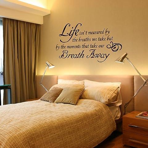 Vita espressione Adesivo da parete in vinile scritte parole da parete con grafica decalcomanie Art Home Decor, Vinile, Black, 35