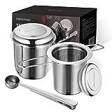 Homemaxs Teesieb Teefilter für losen Tee, 2 Stück 304 Edelstahl Tee Sieb inklusive Deckel/Abtropfschale und 1 Löffel, Premium Teesieben mit Faltbare Griffgestaltung Passend für Teekannen, Tee-Tassen