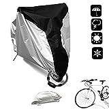 WisFox Copri Bicicletta 190T Telo Copribici Copertura per Bicicletta impermeabile anti polvere sole pioggia vento protezione UV per mountain bike e bici da strada e motocicli con borsa nero e argento