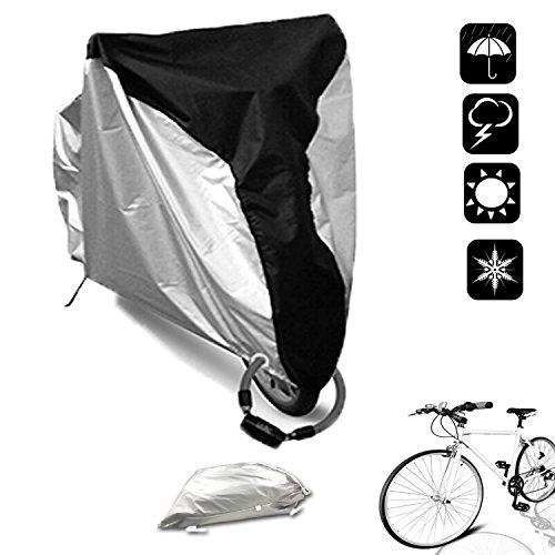 WisFox Fahrradabdeckung Wasserdichter Fahrradgarage 200 x 70x110CM 210D Fahrrad Fahrradschutzhülle Regenschutz Schutzbezug Anti Dust Sun Regen Wind Proof UV Schutz für Abdeckplane Bike Cover -Schwarz