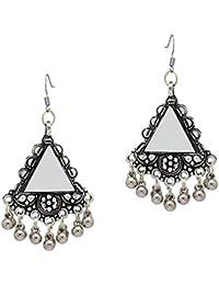 Jaipur Mart Mirror Work Alloy Oxidised Earrings For Women (1 Pair) (GSE784$P)