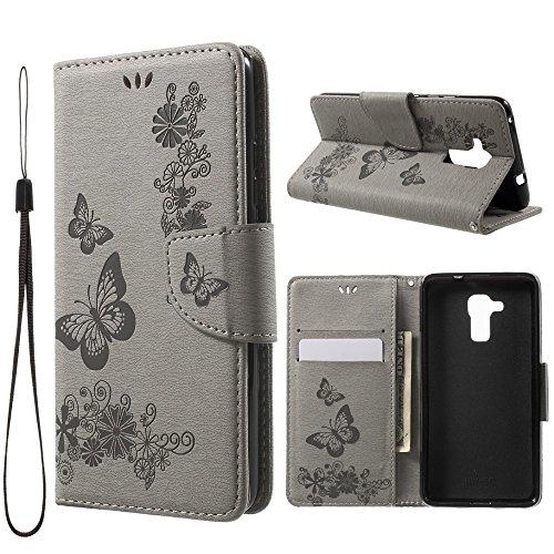jbTec Handy-Hülle Schutzhülle Schmetterlinge passend für Huawei Honor 5C - Flip-Case Cover Handy-Tasche Klapp-Tasche, Farbe:Grau
