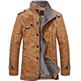 MEIbax Herren Casual Button Thermische Leder Warme Jacken Herbst Winter Steppjacke Übergangs-Jacke Teddy-Fleece Mantel