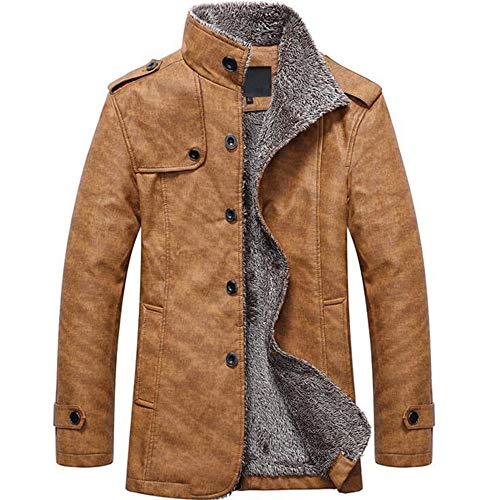 MEIbax Herren Casual Button Thermische Leder Warme Jacken Herbst Winter Steppjacke Übergangs-Jacke Teddy-Fleece Mantel -
