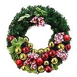 LIJUMN Weihnachtskranz Türkranz Mit Bogen-Knoten Goldenem,Glocken Rot Kugeln Festival Fichte Kranz Simuliert Weihnachtsbaum Dekoration Hochzeit Feier Kranz Für Weihnachten Heim Fenster Party