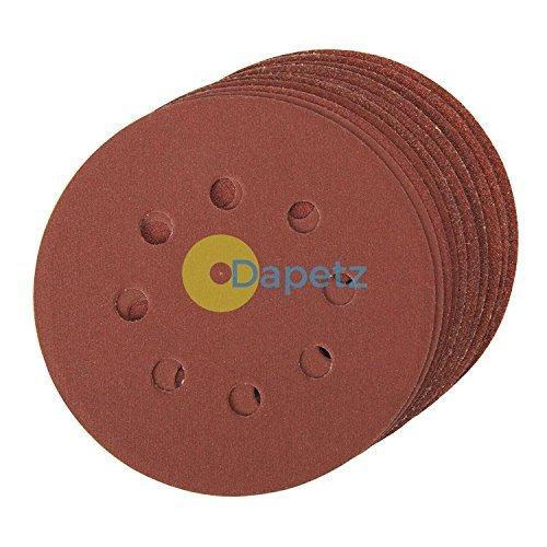 Daptez® Fori dischi abrasivi 125mm 10pk grana 180Hook & Loop in ossido di alluminio