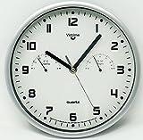 CUCUBA Elegante Uhr rund modern Wanduhr für Büro/Haus 22cm Ø Durchmesser mit Hygrometer und Thermometer–Idee Geschenk Colore: Grigio