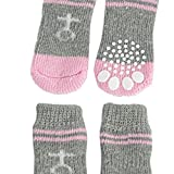 AST Works Pink Gray Nonslip Warm Knitted Socks Bootie for Pet Dog N3