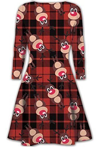 Womens Christmas Swing Dress Ladies Xmas Santa Rudolph Olaf Gift Present Snowman Plus Size (UK 20/22) Rudolph Red Tartan