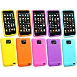 Emartbuy ® Samsung Galaxy S2 Plus I9105 Bundle 5Er Pack Silicon Case / Cover / Skin - Gelb, Orange, Rosa, Lila Und Hellblau