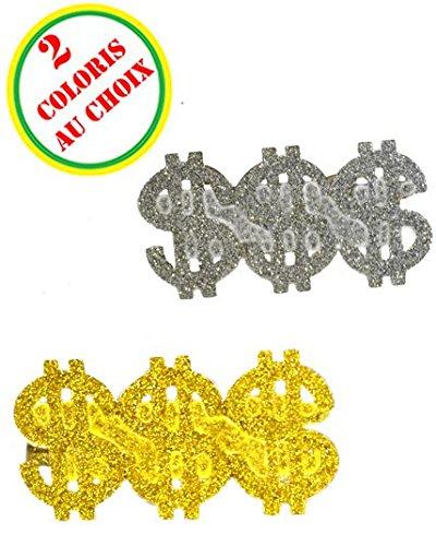 Anello dollaro 3 dita diff. (colori), colore: argento