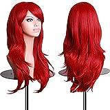 70 cm haute qualité Perruque Cosplay Pour femmes.PowerFul-LOT Long Complète bouclé ondulé Chaleur résistant. Mode Glamour perruque (Couleur: Rouge)