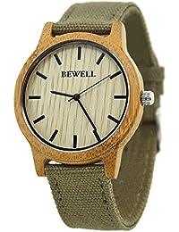 458ad815d438 Bewell - Reloj unisex reloj caliente venta bambú bisel reloj con correa de  tela de estilo