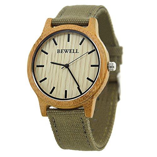 Bewell - Reloj Unisex Reloj Caliente Venta bambú Bisel Reloj con Correa de Tela de Estilo Indie Pop