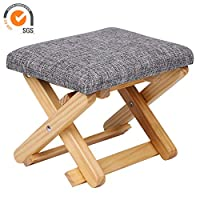 Outwin Kids Stool Chair Children Stool Folding Wooden Low Soft Cushion Portable Children Chair(Grey)