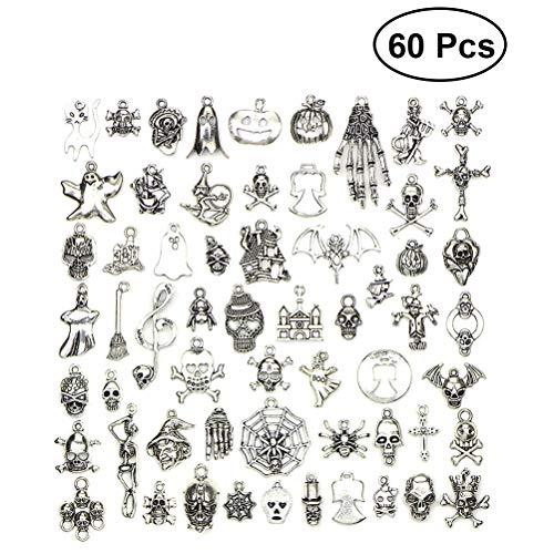 SUPVOX Charm Anhänger Silber Antik Vintage Skelett Spinne Geist Form Halloween Schmuckzubehör 60 Stück (Silber)