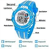 Kinder Digitaluhr,Jungen Mädchen Sport Armbanduhr Wasserdichte LED Multifunktions Armbanduhr für Kinder mit Alarm (Blau)
