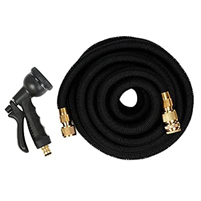 Garden Hose,25FT/50FT/75FT/100FT Expandable Replacement Garden Hose Flexible Hose Pipe with Water Spray Gun with Solid Brass Fittings & 8-pattern Spray Nozzle