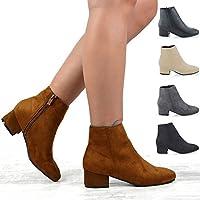 Womens Block Flat Heel Chelsea Ladies Shorty Pixie Zip Riding Biker Ankle Boots Shoes Size 3-8