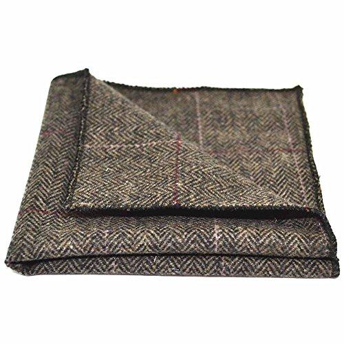 Preisvergleich Produktbild Luxuriöses Moccabraune Tweed-Einstecktuch mit Fischgrätenmuster