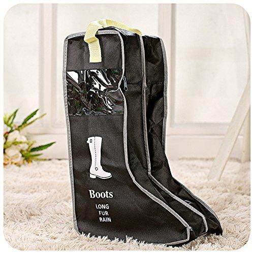 Yiuswoy Tragbare Nichtgewebte Staubdicht Schuhbox Schuhkasten Stiefel Aufbewahrung Stiefelbeutel Schuhaufbewahrung Boots Organizer Tasche Fuer Stiefel - Schwarz