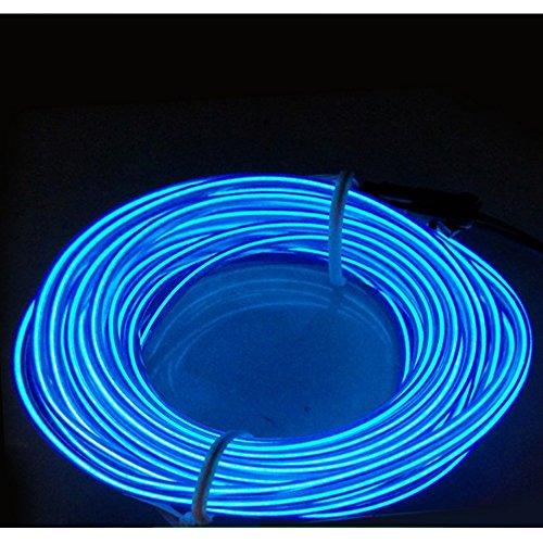 Lezed Neon Beleuchtung EL Wire Leuchtschnur EL Kabel Draht Lichtschlauch EL Leuchtlinie für Partybeleuchtung, Halloween Kostüm Weihnachten Licht oder Einem Einzelhandelsgeschäft Display (Blau 5 - Display Und Kostüm Weihnachten