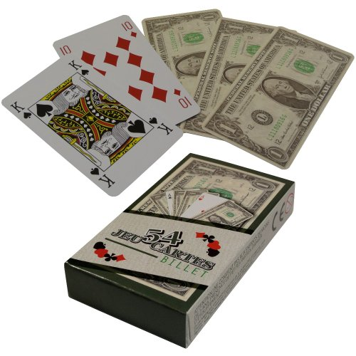 -Jeu 54 Cartes Fun Aspect Billet 100 Dollars idéal Poker Belote Rami