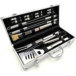 Grillbesteck im Aluminium Koffer | Edelstahl | 16 tlg | Grillkoffer | Grillzange | Wender | Fleisch Spieße